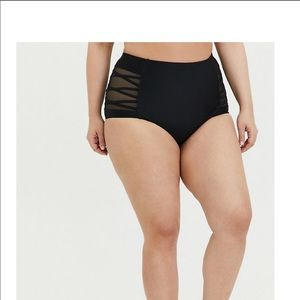 Black high waisted mesh detail bikini bottoms
